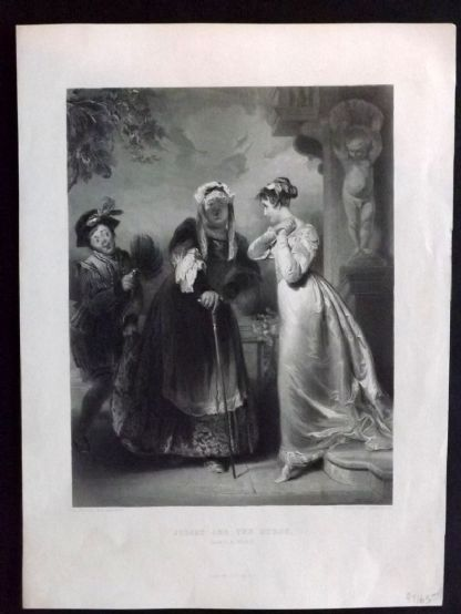 After Briggs C1860 Antique Print. Juliet and The Nurse